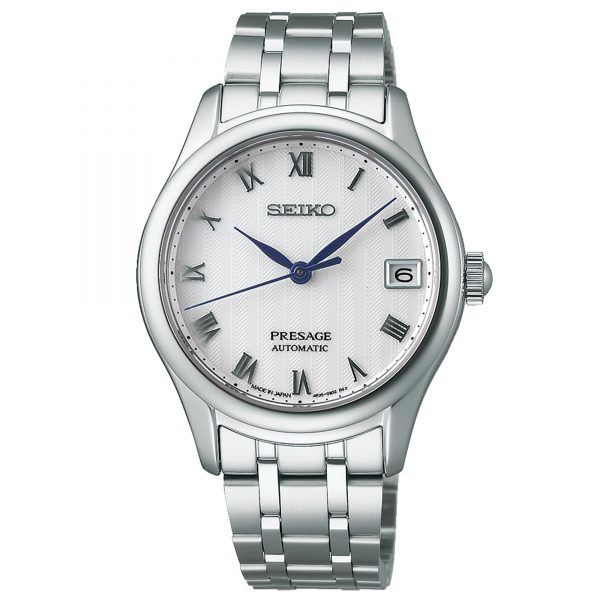 Seiko Presage Japanese Zen Garden Automatic White Dial Silver Stainless Steel Ladies Watch SRPF49J1