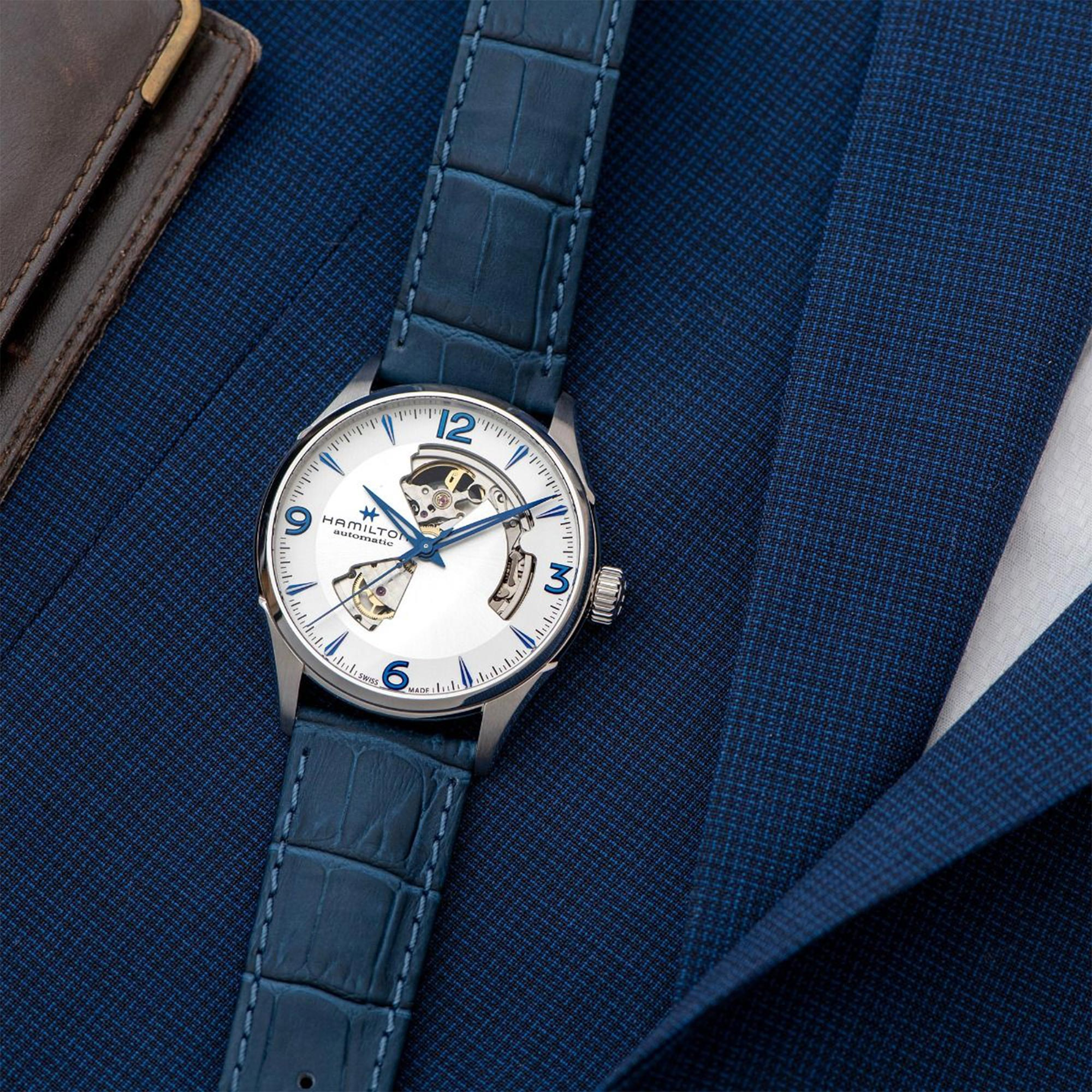 Hamilton Jazzmaster Open Heart Automatic Silver Dial Blue Leather Strap Men's Watch H32705651
