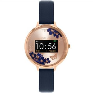 Reflex Active Series 03 Rose Gold Dial Blue Leather Strap Ladies Smart Watch RA03-2042