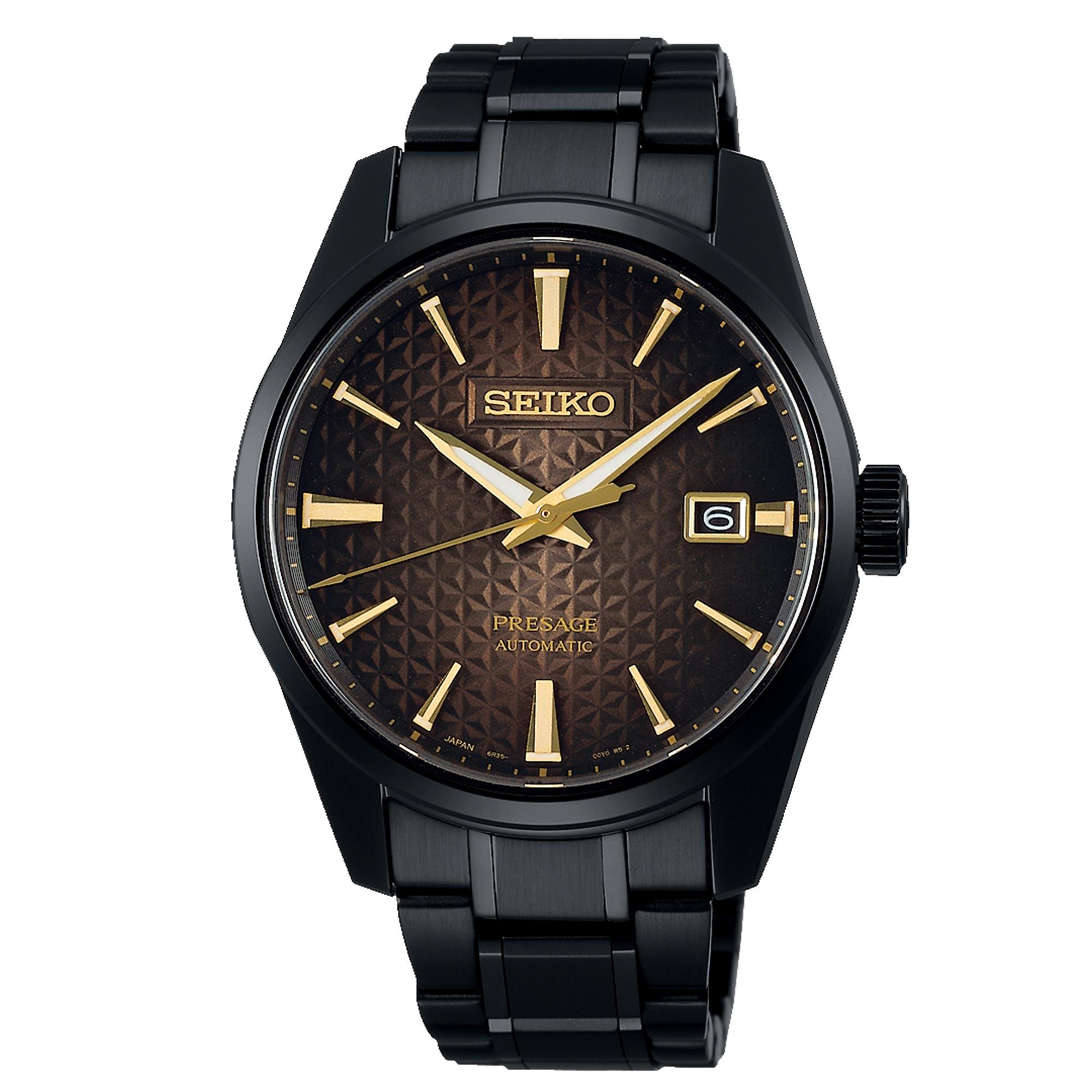 Seiko Presage Sharp Edged Automatic Black Dial Stainless Steel Bracelet Men's Watch SPB205J1