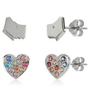 Radley Sterling Silver Dog Motif Heart Stud Earrings RYJ1130