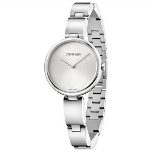 Calvin Klein Wavy Silver Dial Stainless Steel Bracelet Ladies Watch K9U23146
