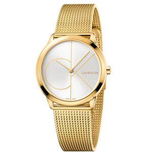 Calvin Klein Minimal Quartz Silver Dial Gold Milanese Stainless Steel Bracelet Watch K3M22526