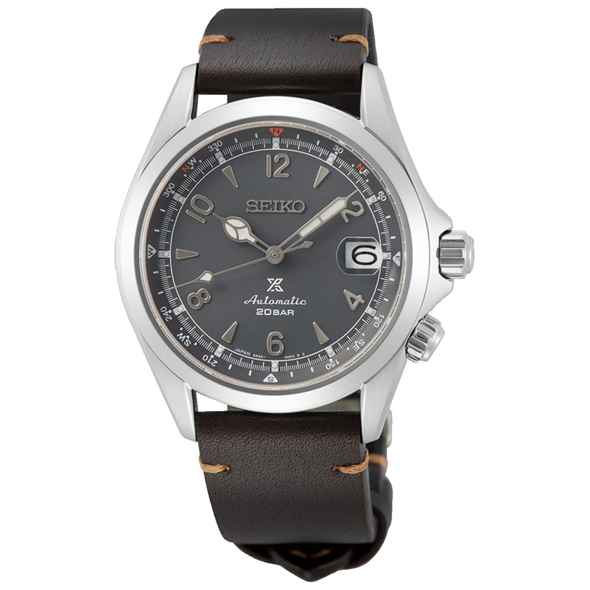 Seiko Prospex Alpinist 2021 European Limited Edition Automatic Grey Dial Brown Leather Strap Men's Watch SPB201J1