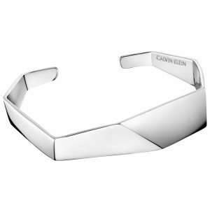 Calvin Klein Origami Silver Stainless Steel Ladies Bangle Bracelet Jewellery KJATMF00010S