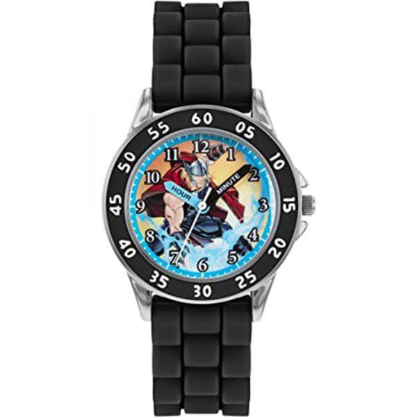 Disney Avengers Quartz Thor Dial Black Rubber Strap Boys Watch AVG9035