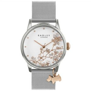 Radley Linear Flower Quartz White Dial Silver Milanese Stainless Steel Bracelet Ladies Watch RY4347S