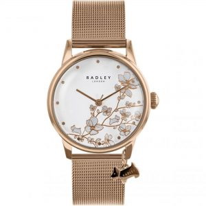 Radley Linear Flower Silver Stainless Steel Mesh Quartz Ladies Watch RY4348S