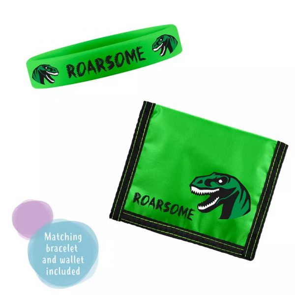 Tikkers Dinosaur Quartz White Dial Green Fabric Strap Boys Gift Set ATK1049