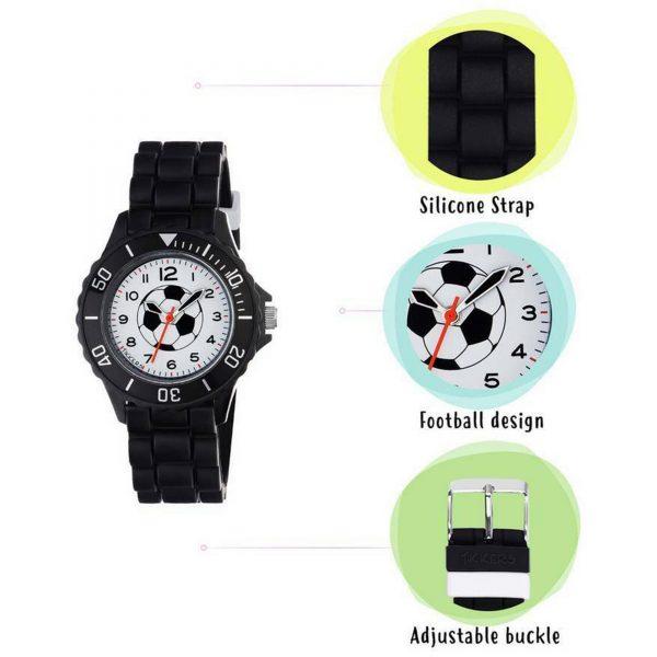 Tikkers Football Quartz White Dial Black Silicone Strap Boys Watch Gift Set ATK1019
