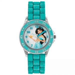 Disney Princess Aladdin Jasmine Quartz Blue Rubber Strap Girls Watch PN9008