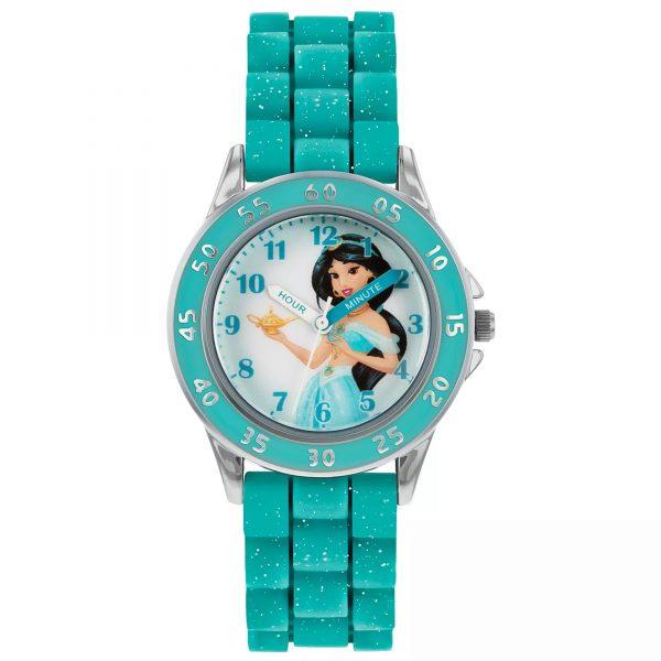 Disney Princess Aladdin Jasmine Quartz Blue Rubber Strap Girls Watch PN9008