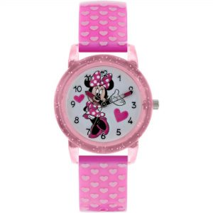 Disney Minnie Mouse Quartz White Dial Pink Rubber Strap Girls Watch MN9036