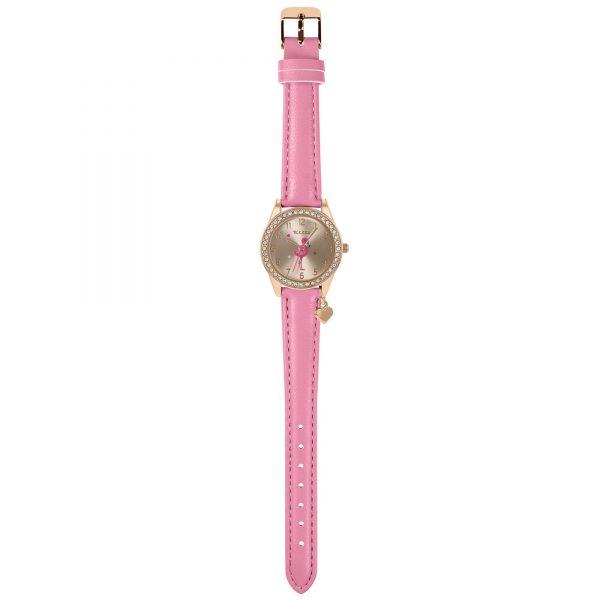 Tikkers Quartz Rose Gold Pink Leather Strap Girls Watch TK0188