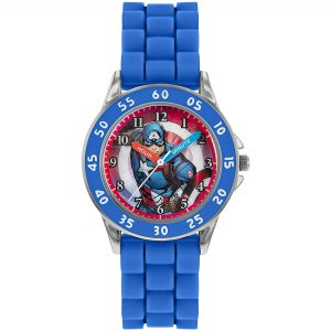 Disney Avengers Captain America Quartz Blue Silicone Strap Boys Watch AVG9033
