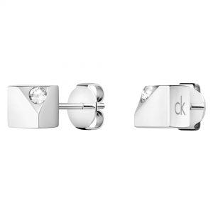 Calvin Klein Tune Silver Stainless Steel Swarovski Stud Ladies Earrings KJ9MME040600