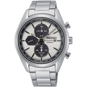 Seiko Conceptual Solar White Dial Silver Stainless Steel Bracelet Men's Watch SSC769P1