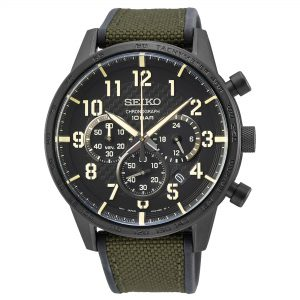 Seiko Conceptual Quartz Black Dial Green Polyurethane Strap Men's Watch SSB369P1