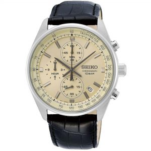 Seiko Conceptual Quartz Cream Dial Black Leather Strap Men's Watch SSB383P1