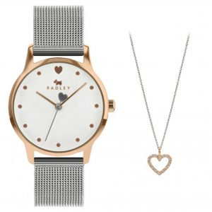 Radley Quartz White Dial Silver Milanese Stainless Steel Bracelet Ladies Watch Gift Set RY4411A