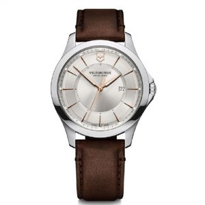 Victorinox Alliance Quartz Silver Dial Brown Leather Strap Men's Watch 241907