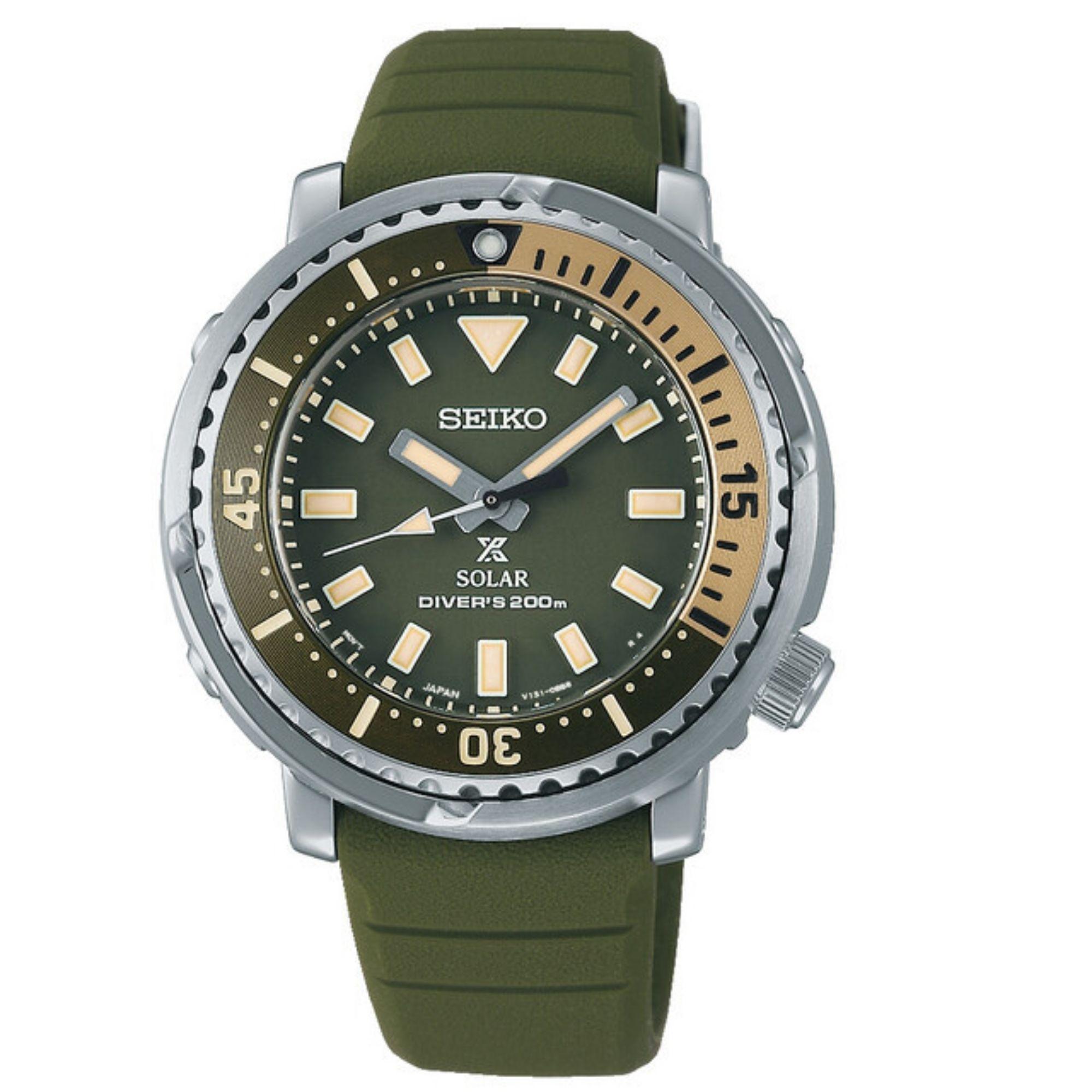 Seiko Prospex Street Series Mini Tuna Safari Edition Automatic Green Dial Silicone Strap Women's Watch SUT405P1