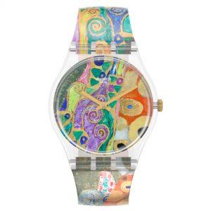 Swatch MoMA Quartz Hope II, By Gustav Klimt Silicone Strap Watch GZ349