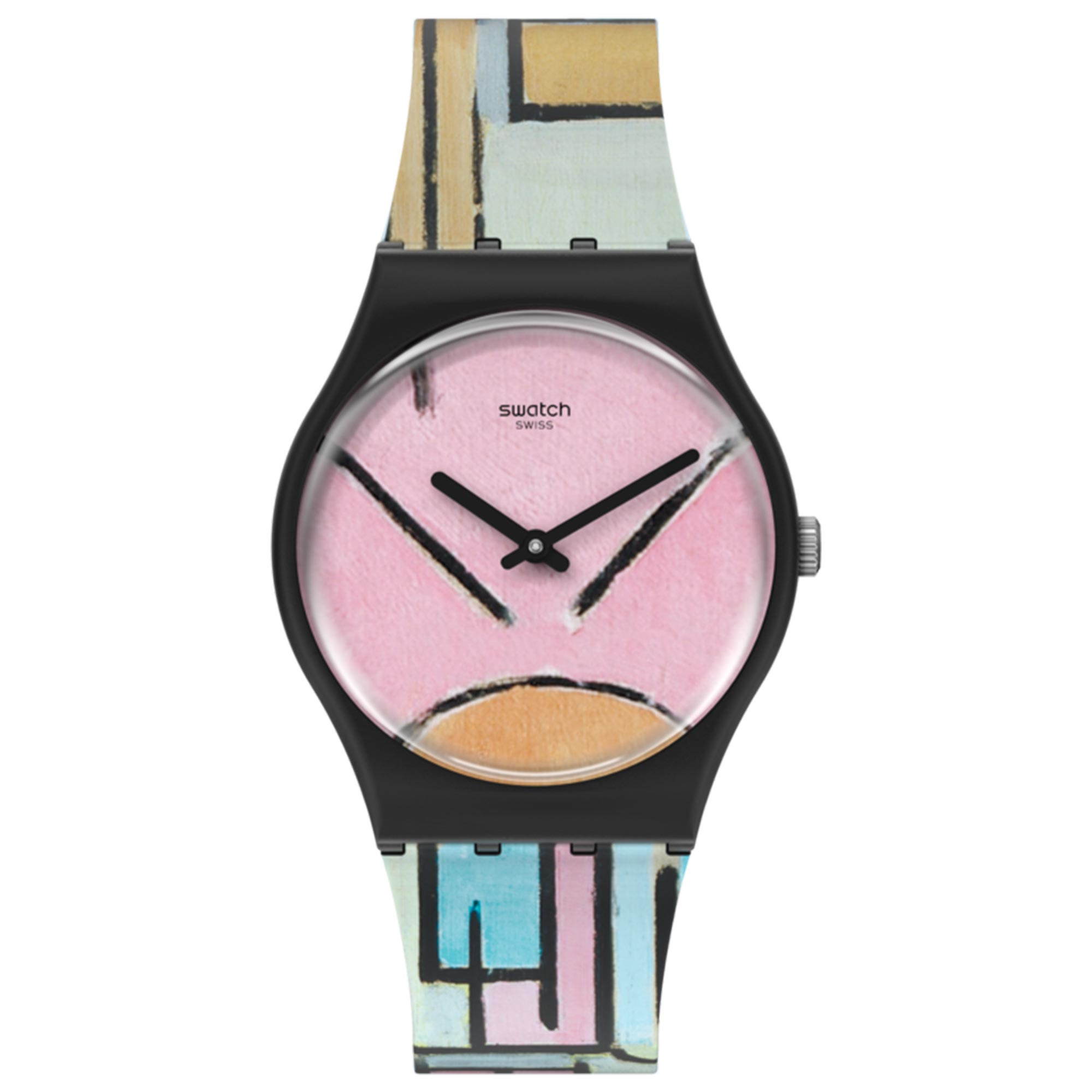 Swatch MoMA Quartz Composition In Oval With Colour Planes 1 Silicone Strap Watch GZ350