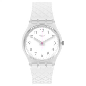 Swatch Whitenel Quartz White Dial Silicone Strap Watch GE286