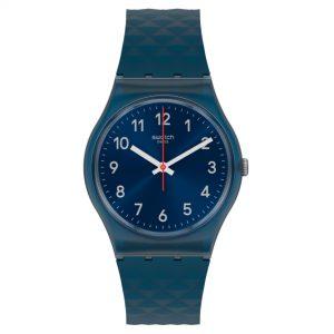 Swatch Bluenel Quartz Blue Dial Silicone Strap Watch GN271
