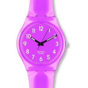 Swatch Dragon Fruit Quartz Pink Dial Silicone Strap Ladies Watch GP128