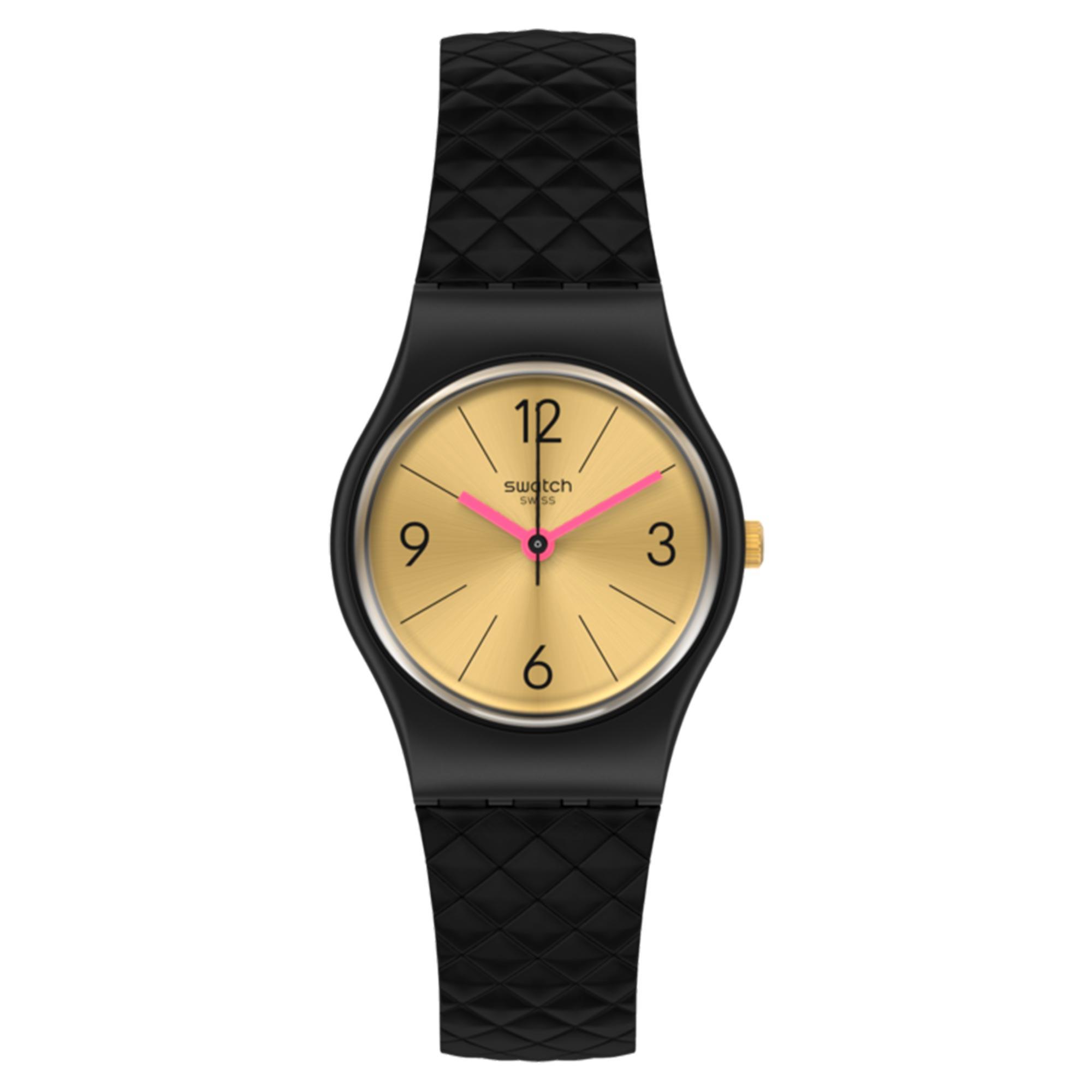 Swatch Luxy Barok Quartz Gold Dial Black Silicone Strap Ladies Watch LB187