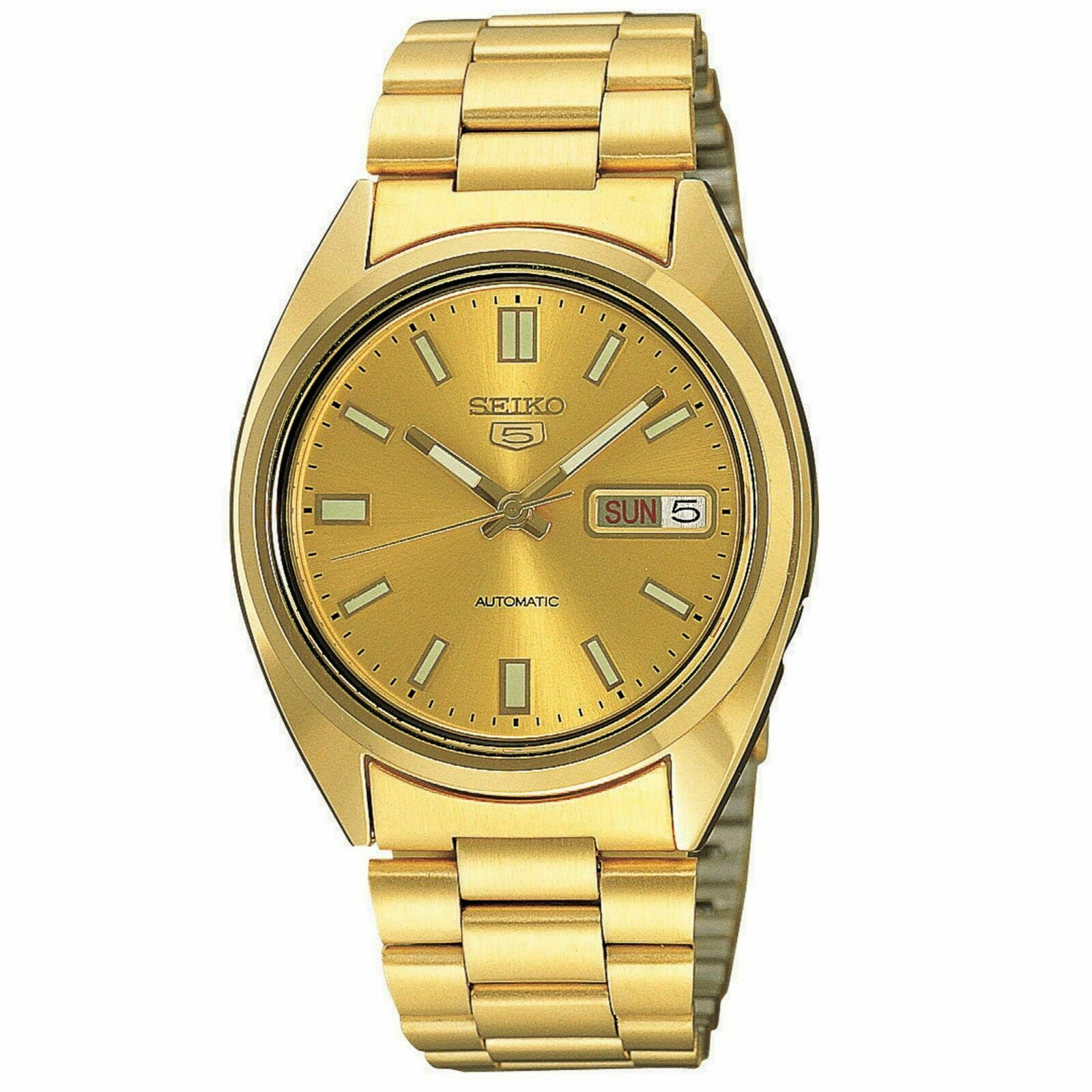 Seiko 5 Automatic Gold PVD Stainless Steel Men's Watch SNXS80K1 RRP £219