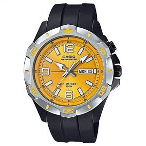 Casio Quartz Movement Orange Dial Plastic Strap Men's Watch MTD-1082-9AVEF