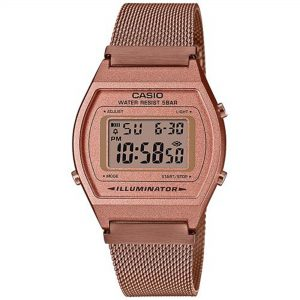 Casio Vintage Quartz Digital Dial Rose Gold Milanese Stainless Steel Bracelet Ladies Watch B640WMR-5AEF