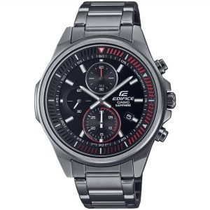 Casio Edifice Solar Black Dial Gunmetal Grey Stainless Steel Bracelet Men's Watch EFR-S572DC-1AVUEF