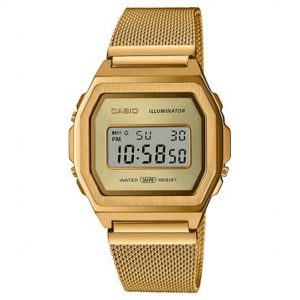 Casio Vintage Quartz Digital Dial Gold Milanese Stainless Steel Bracelet Watch A1000MG-9EF