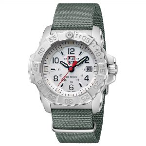 Luminox Navy SEAL Steel 3250 Series Quartz Movement Silver Dial Synthetic Bracelet Mens Watch XS.3257