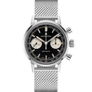 Hamilton American Classic Intra-Matic Chronograph H Mechanical Movement Black Dial Steel Strap Men's Watch H38429130