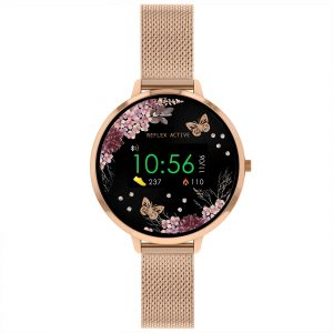 Reflex Active Digital Quartz Black Dial Rose Gold Milanese Stainless Steel Bracelet Watch RA03-4038