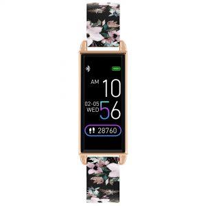 Reflex Active Digital Quartz Black Dial Floral PU Strap Watch RA02-2052