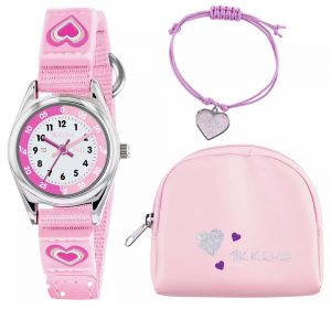 Tikkers Heart Quartz White Dial Pink Velcro Strap Girls Watch ATK1031
