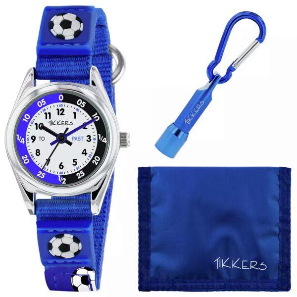 Tikkers Football Quartz White Dial Blue Velcro Strap Boys Watch ATK1028