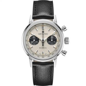 Hamilton American Classic Intra-Matic Chronograph H Mechanical White Dial Black Leather Strap Men's Watch H38429710