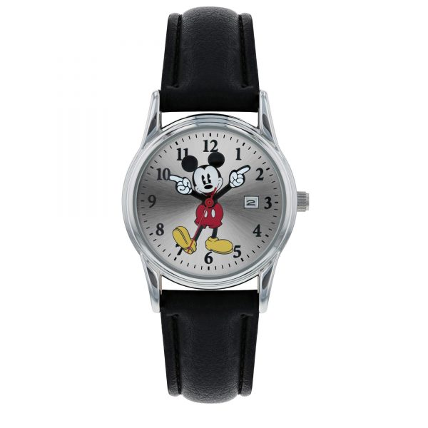 Disney Mickey Mouse Quartz Movement Leather Bracelet Kids Watch MK1003