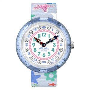 Flik Flak Going to School Stafetti Quartz Movement White Dial Textile Bracelet Girls Watch FBN136