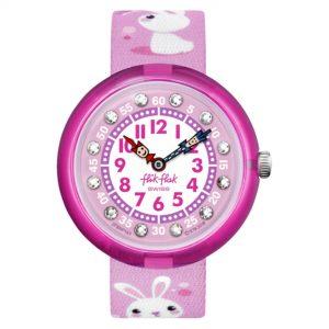 Flik Flak Mystical Woods So Cute Quartz Movement Pink Dial Textile Bracelet Girls Watch FBNP143