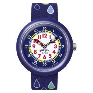 Flik Flak Garden Adventure Rain Drops Quartz Movement Blue Dial Textile Bracelet Boys Watch FBNP147