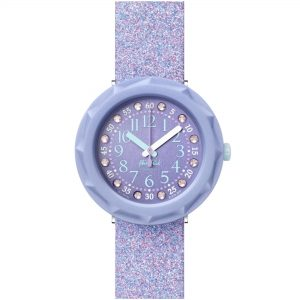 Flik Flak Shine Bright Lilaxus Quartz Movement Purple Dial Silicone Bracelet Girls Watch FCSP102
