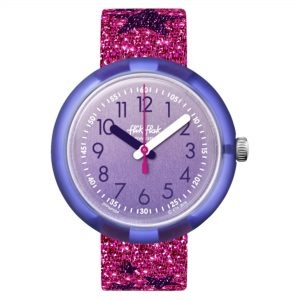 Flik Flak Futuristic Glitter Stars Quartz Movement Purple Dial Textile Bracelet Girls Watch FPNP054